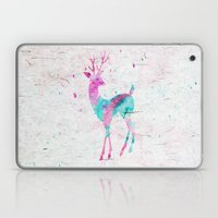 Pink and Turquoise Cute Deer Animal Watercolor Art Laptop & iPad Skin