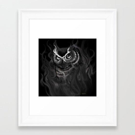 Owl Aflame Framed Art Print