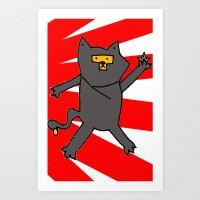 Ninja Kitty Art Print