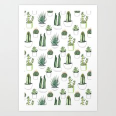 watercolour cacti and succulent Art Print