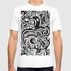 Abstract White SMALL Mens Fitted Tee