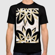 Modern black gold pink abstract floral pattern SMALL Black Mens Fitted Tee