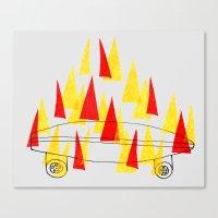 Flaming Skateboard Canvas Print