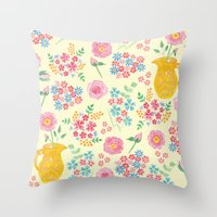 Watercolor floral with vase Throw Pillow