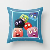 Glutton Jelly Monsters - all Throw Pillow