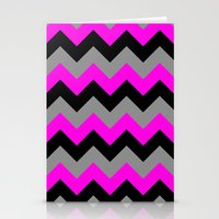 Chevron Silver Pink Stationery Cards