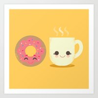 Coffee and Donut Buds Art Print