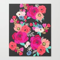 Sweet Pea Floral Black B… Canvas Print