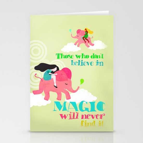 pink elephants Stationery Card