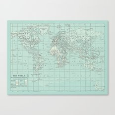Vintage World Map in Soft Teal Canvas Print