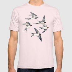Blue Sky Swallow Flight Mens Fitted Tee Light Pink SMALL