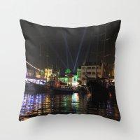 Marmaris Marina Nightsca… Throw Pillow