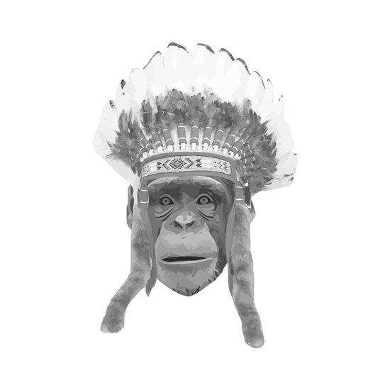 Indian Headdress Monkey Art Print