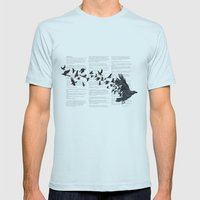Vintage Style Print with Poem Text Edgar Alan Poe: Edgar Alan Crow Mens Fitted Tee Light Blue SMALL