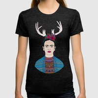DEER FRIDA Womens Fitted Tee Tri-Black SMALL