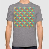 Rubiks Cube Pattern Mens Fitted Tee Tri-Grey SMALL