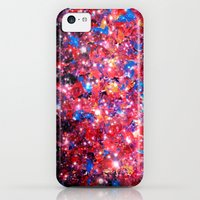 iPhone 5c Cases featuring WRAPPED IN STARLIGHT Bold Colorful Abstract Acrylic Painting Galaxy Stars Pink Red Purple Ombre Sky by EbiEmporium