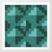Green Diamond Pixels Art Print