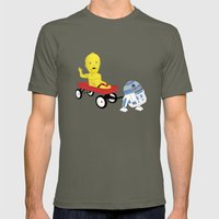SW Kids - C3PO & R2D2 Red Wagon Mens Fitted Tee Lieutenant SMALL