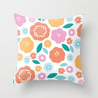 Cheerful Florals Throw Pillow