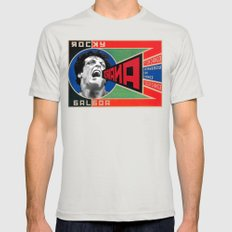 Rocky Balboa in Communist Advertisement Mens Fitted Tee Silver SMALL