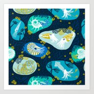 Art Print featuring Cephalopods Through Time by Pinky Wittingslow