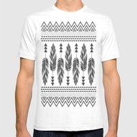 Tribal Feathers-Black & Cream Mens Fitted Tee White SMALL