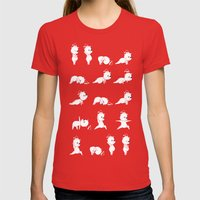 Yoga Bear - Polar Bear Womens Fitted Tee Red SMALL