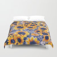 Sunflowers Blue Duvet Cover