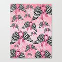 Breast cancer awareness winged ribbons pattern.  Canvas Print