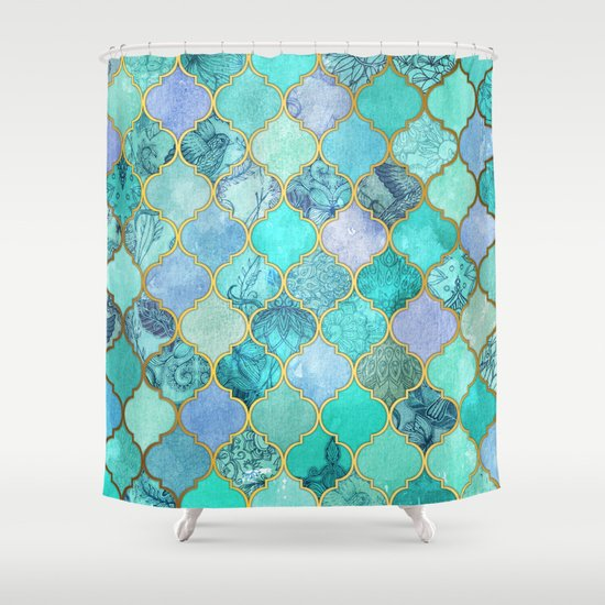 Cool Jade Icy Mint Decorative Moroccan Tile Pattern Shower Curtain By Micklyn Society6