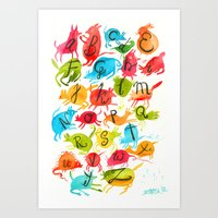 alphabet Art Prints featuring Alphabet by zuzia turek