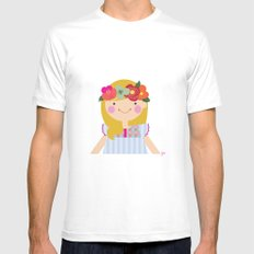 Flower crown girl White SMALL Mens Fitted Tee