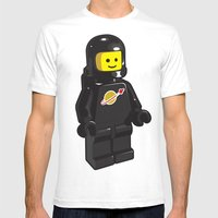 Vintage Lego Black Spaceman Minifig Mens Fitted Tee White SMALL