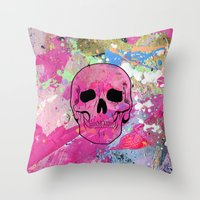 Skull collage Throw Pillow