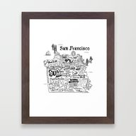 San Francisco Map Illust… Framed Art Print