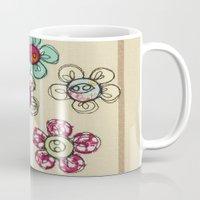 Embroidered Flower Illustration Mug