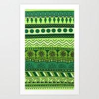 Yzor Pattern 003 Green Art Print