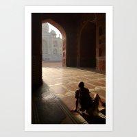 Tourist Photographing Taj Mahal Art Print