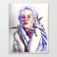 Girl With The Hummingbir… Canvas Print