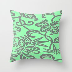Mint & Gray Floral Patte… Throw Pillow