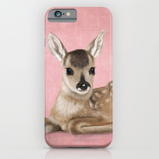 Portrait of a small fawn on a rustic pink background iPhone & iPod Case