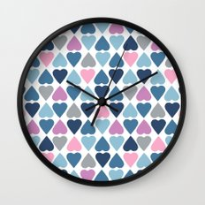 Diamond Hearts Pink Wall Clock