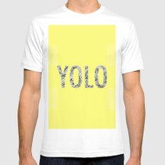 yolo White Mens Fitted Tee SMALL