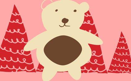 Art Print - Christmas polar bear pink - BruxaMagica_susycosta