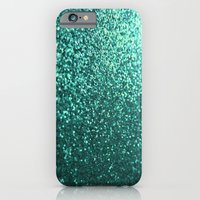 iPhone & iPod Case featuring Teal Aqua Glitter Sparkle by xjen94