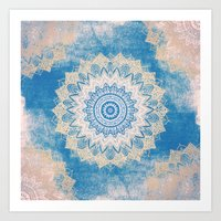 GOLD AND BLUE BOHOCHIC MANDALA Art Print