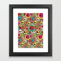 Button Skulls Framed Art Print