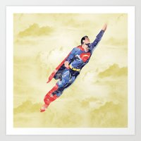 superman Art Prints featuring Superman by DanielBergerDesign