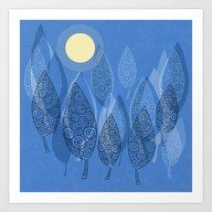 Night Trees (Full Moon) Art Print